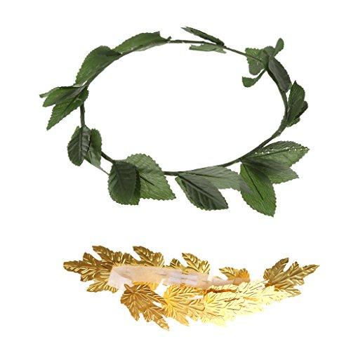 Bonarty Paquete de 2 Piezas de Diosa Griega Romana Toga Hojas Verdes Doradas Corona de Laurel Banda para La Cabeza Accesorios para Disfraces de Fiesta