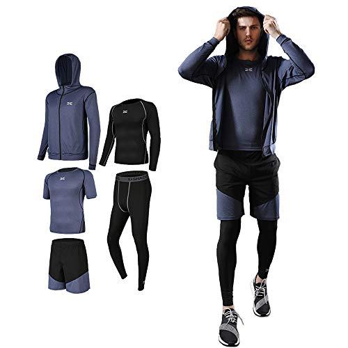 メンズ コンプレッションウェア セット トレーニングウェア 5点セット 通気防臭 スポーツウェア ランニングウェア パーカー 長袖シャツ 半袖シャツ ハーフパンツ タイツ 吸汗速乾 (#07-太空藍-5点セット, XL)