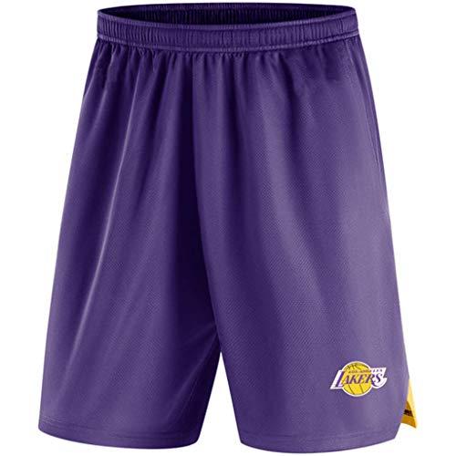 Mens Shorts NBA Los Angeles Lakers Di Atletica Di Formazione In Maglia Pantaloni Della Tuta Casuale Comodo Allentato Della Squadra Logo Bicchierini Della Spiaggia Per L'estate Dei Giovani Purple-M