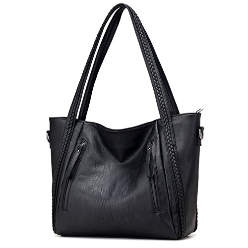 HeHe Damen Handtasche PU-Leder Shopper Tasche Schultertasche für Schule Reisen Arbeit und Einkäufe - Schwarz