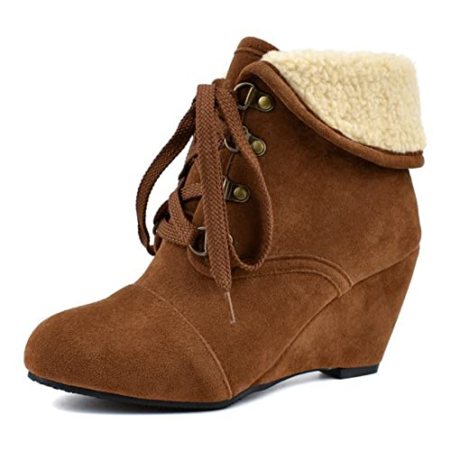 Women Winter Wedge High Heel Snow Boots Lace Up Warm Comfort Fold Down Suede Fur Lined Ankle Booties
