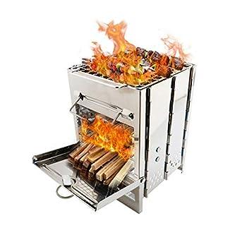 DIYARTS Camping Intégré Pliant Poêle À Grill en Bois Portable Petit en Acier Inoxydable Barbecue Poêle À Charbon de Bois Barbecue pour Cuisson en Plein Air Pique-Nique