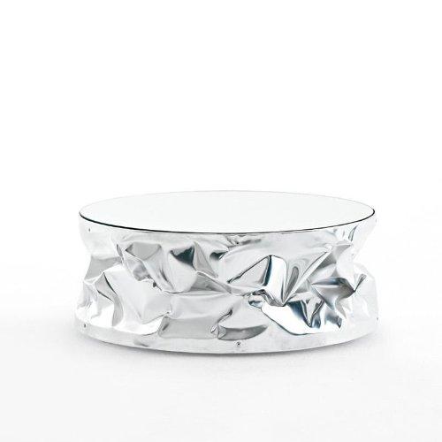 Opinion Ciatti Tab.Ulino Beistelltisch, Aluminium Platte verspiegelt satiniert Ø60xH25 cm