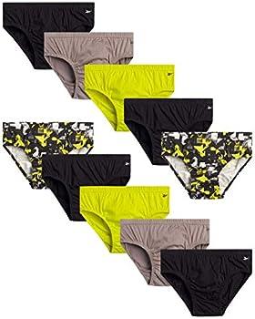 Reebok Men's Underwear – Low Rise Briefs with Contour Pouch  10 Pack  Size Medium Black/Yellow