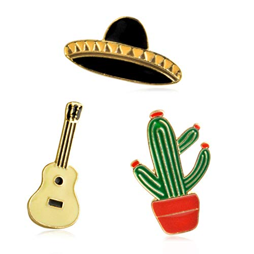 BLINGBRY 3 stuks hoed gitaar Mexicaanse cactus emaille badge broches metaal meisjes jeans tas decoratie geschenk modesieraad broche