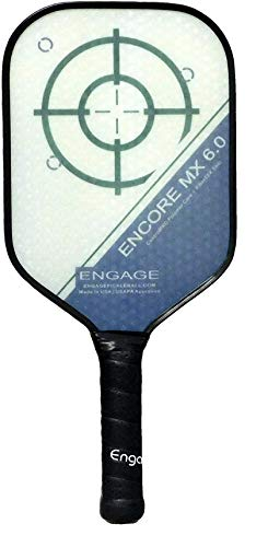 EP Engage Encore MX 6.0 Pickleball Paddle, Standard Weight 7.9-8.3 oz, Thick Core for Control & Feel, Built for Power & Sweet Spot – New for 2020 (White, 4 ⅜ inch Grip)