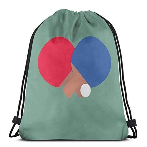 Tischtennisschläger und Ball Sport Sackpack Kordelzug Rucksack Gym Bag Sack
