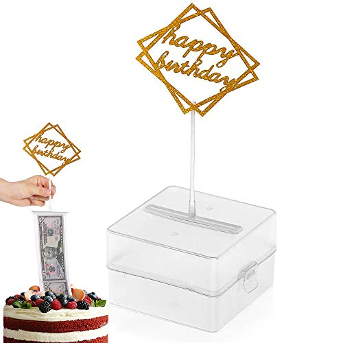 The Money Cake, Cake Money Box-Cake Money Pull Out Kit Includes 1Pc Clear Food-Contact Safe Box, 1Pc Gold Cake Topper, 20Pcs Pockets for Birthday Party Cake Decorations