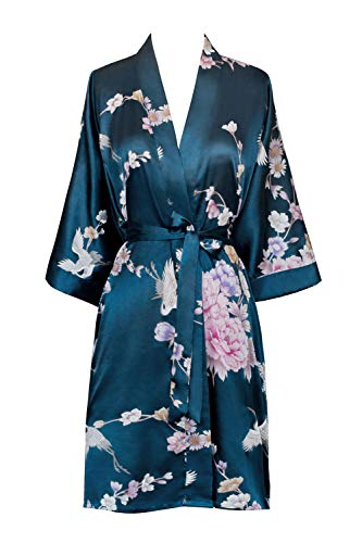 Old Shanghai Women's Kimono Short Robe - Chrysanthemum & Crane - Navy
