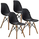 VECELO Style Dining Chair Side Chairs with Natural Wood Legs (Set of 4),Easy Assemble for Kitchen Dining Room,Living Room,Bedroom(Black)