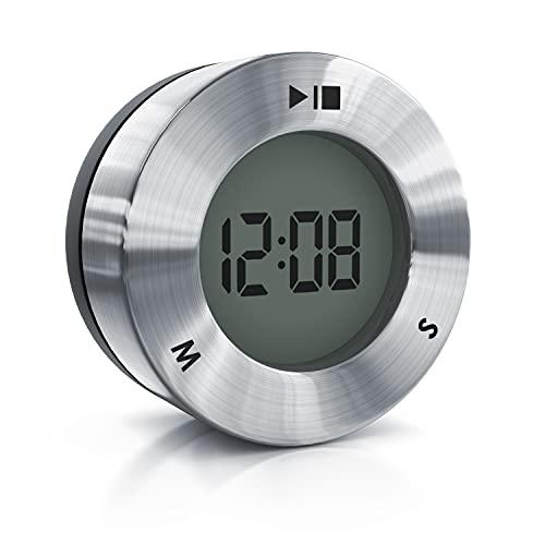 arendo – Temporizador Digital de Cocina - Magnético - Gran Pantalla LCD - Cuenta atrás hasta 99 Minutos 59 Segundos - Tono de Alarma - Función Reloj - Acero Inoxidable - Diseño Elegante