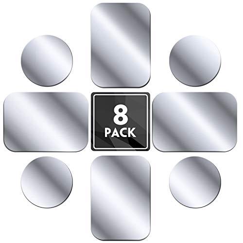 MENNYO metalen plaat 8 stuks voor magnetische auto gsm-houder, metalen plaat gsm-houder metalen plaat met zelfklevende folie voor auto gsm-houder - 4 rondes en 4 rechthoeken