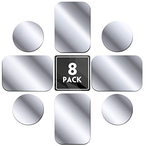 MENNYO Metal Plate 8 Pack for Magnetic Phone Car Holder Mount Cradle Stand, Universal Replacement Thin Metal Plate with Adhesive for Phone Magnet - 4 Round and 4 Rectangle