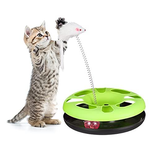 Relaxdays Juguete Gato con Ratón y Bola con Cascabel, Cat Toy, Plástico y Hierro, Verde