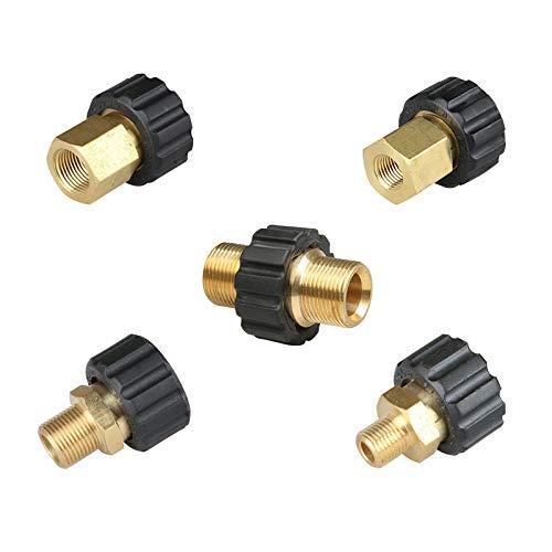 SagaSave, adattatore per idropulitrice M22 maschio a M22 maschio a M22 maschio a pressione rapida in ottone, filettatura interna a sgancio rapido, tubo di collegamento di parti, spina da 14 mm