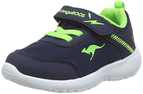 KangaROOS Unisex Baby KC-Flight EV Sneaker, Blau (Dk Navy/Lime 4054), 28 EU