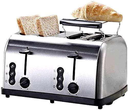 Mopoq Sandwich 4-Slot Grille-pain Simplicité Compact brossé et Chrome en acier inoxydable boîtier double Petit-déjeuner Set Panneau de configuration indépendant Régulation de la température