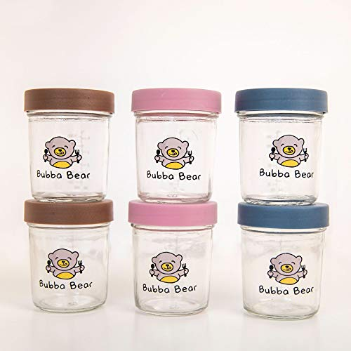 Bubba Bear® Baby Toddler Food Glass Storage Containers   120ml Pots for Freezer   Set of 6 Jars with BPA Free Lids (200ml