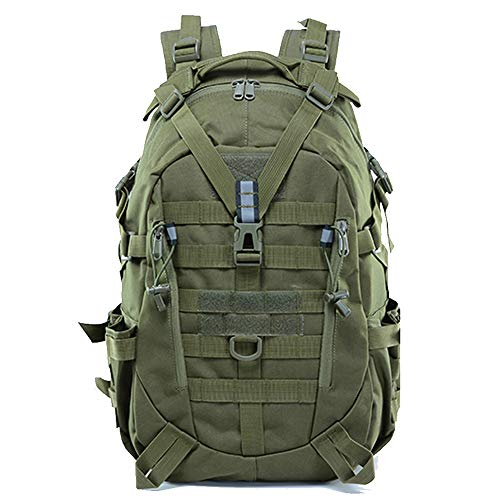 LHI Military Tactical Backpack for Men 35L Army Assault Pack Bug Out Bag Molle Rucksack with Reflector for Hiking, Work, Outdoor Activities and Daily Use - Green