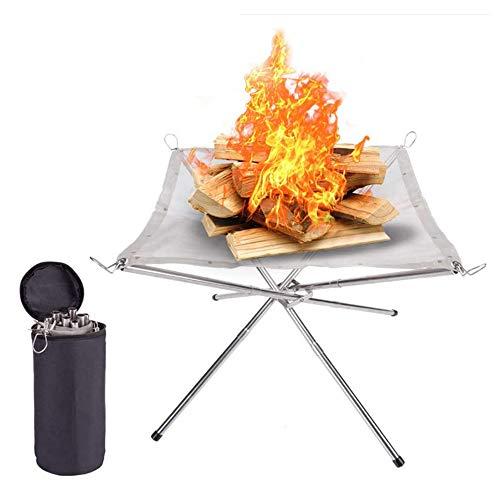JIASHU Collapsible Steel Mesh Fireplace, Portable Fire Pit Outdoor, with Durable and Foldable Tripod, Perfect for Camping, Backyard and Garden Party Barbecue