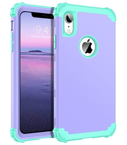BENTOBEN - Carcasa para iPhone XR, 3 en 1 de protección completa antigolpes, resistente, resistente, 3 capas, policarbonato duradero y silicona flexible para iPhone XR [6,1'), color morado claro