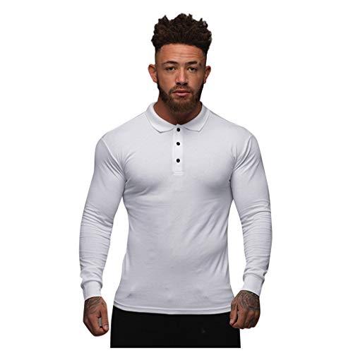 Yowablo Tee-Shirts Tee Shirt T Shirt T-Shirt Haut Manche Longue Tshirt T Shirts Polo Hommes Mode Sport Bouton Stretch T-Shirt Serré Stretch Chemise À Manches Longues (XL,Blanc)