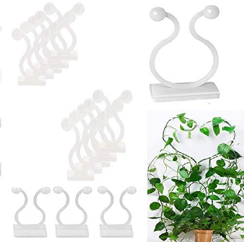 EMAGEREN 50 Stück Pflanzenclips Kabelbinder Selbstklebend Pflanzen-Kletter-Wandbefestigungs-Clips Pflanzenstützen Kletterpflanzen Clips Pflanzenklammern für Kletterpflanzen Reben Gemüse Stützhalter