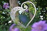 Rostikal Deko Herz mit Innenherz, Metall Herz in Edelstahl Optik Größe zum hängen