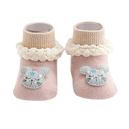 YWLINK Calcetines Antideslizantes para BebéS AlgodóN Grueso Y CáLido Bonitos Calcetines Deportivos para NiñOs Y NiñAs Lindo Calcetines para NiñOs PequeñOs Adecuados para 0-24 Meses (Rosa, M)