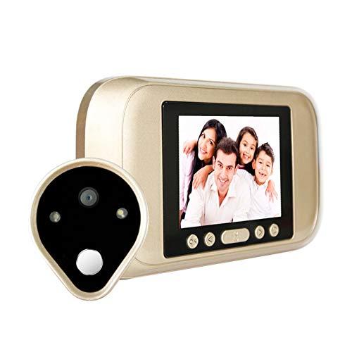 QWERTYUKJ Pantalla LCD TFT de 3,5 Pulgadas Timbre de Puerta Digital Videollamada Cámara de Puerta Alarma Mirilla Timbre Digital Detección de Movimiento PIR Gran Angular Grado