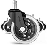 Office Chair Wheels By Office Owl for Smart Home Offices, Set of 5 Heavy Duty 3' Replacement Rubber Office Chair Casters, Cool Rollerblade Style Stem Chair Casters for Hardwood,No Need for Chair Mats