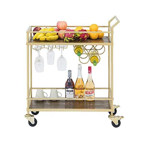 Carritos de compra Sky Wine 2 Nivel de hierro Servicio Trolley Hogar Hotel Restaurante Rack de vino Trolley de almacenamiento multifuncional (Oro, 82 * 75 * 37cm) Rack Un carro para almacenar temporal