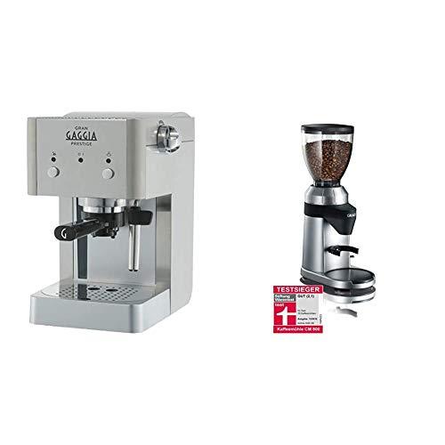 Gaggia RI8427/11 Gran Prestige Siebträger aus Edelstahl mit Panarello, 15 bar Druck, Silber & Graef Kaffeemühle CM 800