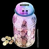 Hucha para niños y adultos, LarmTek Digital Coin Bank con siete colores pantalla LCD automática, hucha grande con tapa transparente (destornillador incluido)