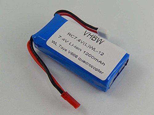 vhbw Li-Ion Akku 1200mAh (7.4V) passend für Drohne, Multicopter, Quadrocopter UDI U829A