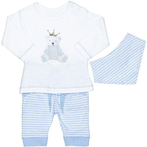 Unisex Baby 3-teiliges Geschenkset | Langarm-Shirt Hose Halstuch | White Blue Größe 50 für Jungen und Mädchen