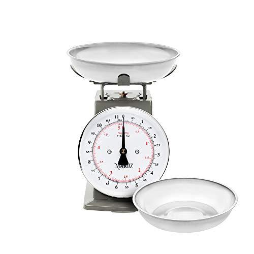 MARLIZ Báscula mecánica de alimentos de 5 kg para cocina analógica con balanza de 2 cuencos gramos y onzas balanza básicas gris
