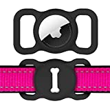 Airtag Dog Collar Holder for Apple Tag,DLENP Air Tag Apple Protective Cat Airtag Dog Collar,Silicone AirTags GPS Tracking Accessories,Air Tags with Bone Pattern (1 Pack(Black))