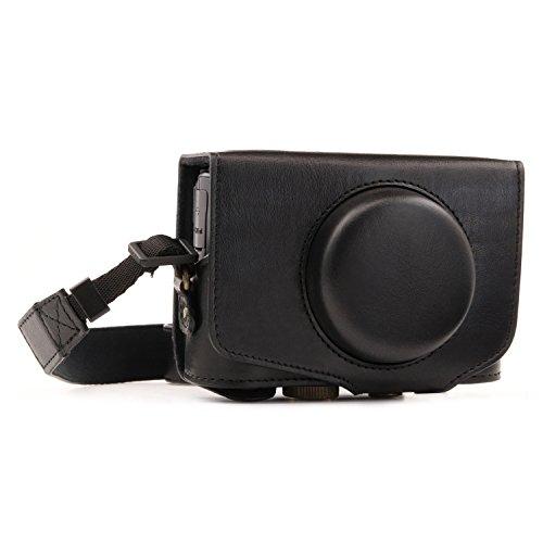 MegaGear Ever Ready Custodia in finta pelle con tracolla per fotocamera Canon PowerShot SX740 HS, SX730 HS, Nero