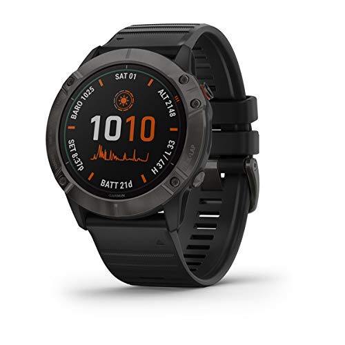 Garmin Fenix 6X Pro Solar, Premium Multisport GPS Watch with Solar Charging, features Mapping, Music, Grade-Adjusted Pace Guidance and Pulse Ox Sensors, Dark Gray with Black Band (Renewed)