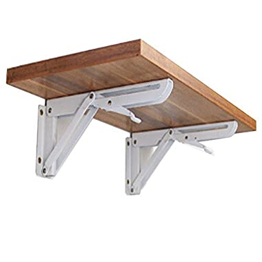 Hyacinthus 12 Inch Folding Support Shelf Bracket Steel Bench Table Loaded Supports Wall mount Support for Undermount Sinks Microwave Beds and Other Furniture (not include wood) 2 PCS Pack (K)