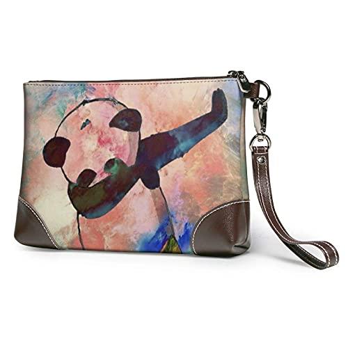 XCNGG Dabbing Panda Dance Love Peace Clutch Geldbörsen Lederhandtasche Wristlet Clutch Geldbörse Geldbörsen für Frauen