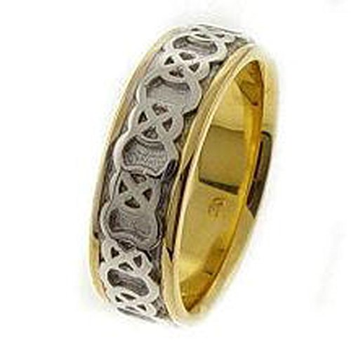 14k Two-Tone Gold Men's 7.5mm Endless Love Celtic Knot Wedding Band (11.75)