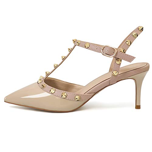 Hecater Studded Sandals for Women Kitten Heels Slingback Pumps Pointed Toe Sandals Apricot 6 US