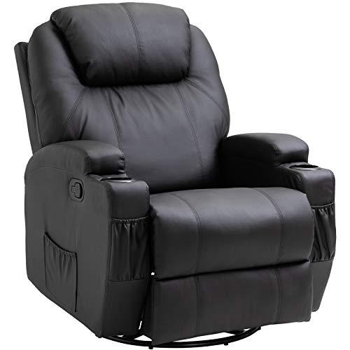 HOMCOM Fauteuil de Massage Relaxation électrique Chauffant inclinable pivotant 360° avec Repose-Pied Ajustable revêtement synthétique Noir