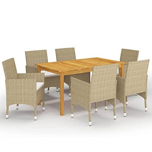 vidaXL Juego de Comedor de Jardín de 7 Piezas Mobiliario Muebles Terraza Exterior Hogar Cocina Mesa Silla Asiento Suave con Respaldo Beige