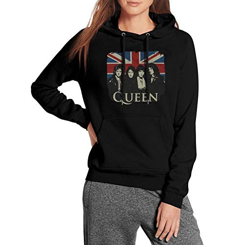 Fashion Hooded Sweatshirt for Womens Classic Band Queen Pullover Hoodie Drawstring Pocket Black