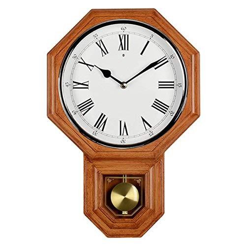 SCDZS Mejor reloj de pared de péndulo, silencioso, decorativo de madera, con péndulo basculante, funciona con pilas, diseño de madera oscura, para sala de estar, comedor, cocina, oficina y hogar