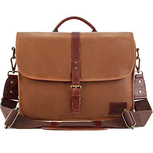 Messenger Bag for Men 16 Inch Waterproof Vintage Genuine Leather Mens Briefcase Shoulder Bag with 9 Storage Pockets, Waxed Canvas Leather Computer Laptop Bag Business Satchel Brown