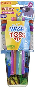 Nuby 5 Piece Printed Straw Cup Free Flow Wash or Toss Cups Assorted Multicolor